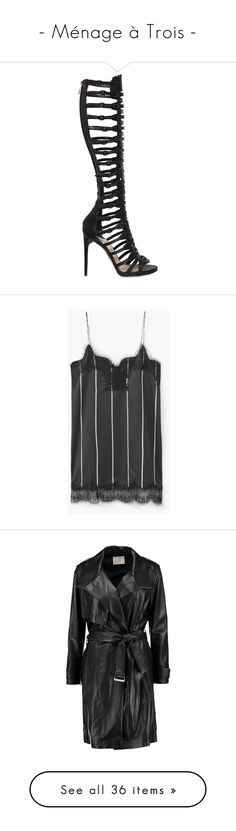 """""""- Ménage à Trois -"""" by carla-turner-bastet ❤ liked on Polyvore featuring shoes, sandals, black, black leather shoes, leather platform sandals, black buckle sandals, high heel sandals, buckle sandals, dresses and v neck dress"""