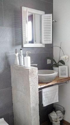 a mirror for the guest bathroom – diy bathroom decor Bathroom Sets, Bathroom Wall, Small Bathroom, Concrete Bathroom, Diy Concrete, Concrete Blocks, Master Bathroom, Bad Inspiration, Bathroom Inspiration