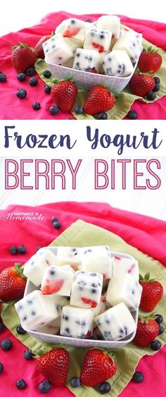 These frozen yogurt berry bites are a delicious protein-packed snack idea! They also make a great healthy dessert treat for both kids and adults!