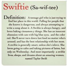 Swiftie. YES! This is who I am!!!!!!!  I want one to describe a male swiftie