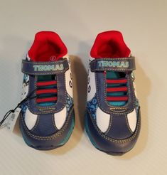 b221148e79afb NEW THOMAS   FRIENDS Blue Sneakers Tennis Shoes Toddler Boys Sz 9 Train  Blue Red