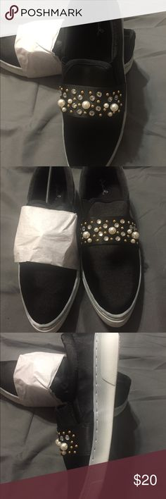 Cute Satin Tennis Shoes! Black satan tennis shows with additional pearls, gold studs and rhinestones for added cuteness!! Qupid Shoes Sneakers