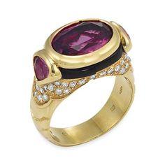 Gold, Pink Tourmaline, Diamond and Black Onyx Ring, Marina B