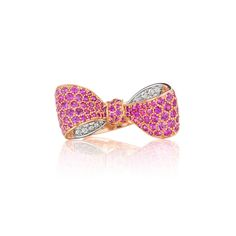 Mimi So Bow Pink Sapphire and Diamond Ring 18kt Rose and White Gold