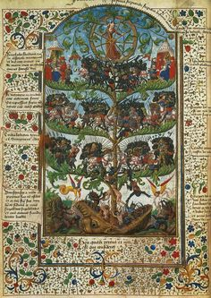 Illuminated Manuscript - Tree of Battles    Honore Bouvet 1470. Fortune, blindfolded, turns her wheel to determine the outcome of the battles. Some of the slain soldiers fall into the mouth of Hell below.