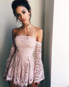 amazing blush lace off the shoulder dress | 30+ Looks Show You How To Still Wearing These Amazing Chokers in 2017 Trends