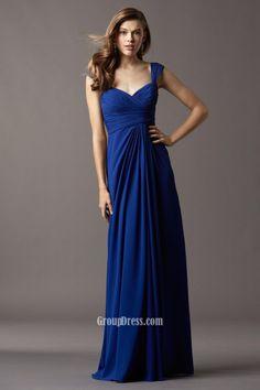 royal blue chiffon long bridesmaid dress draped sweetheart neck with wide straps