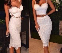 Two (2) Piece White Flower Lace Crop Top & High Waist Skirt Dress