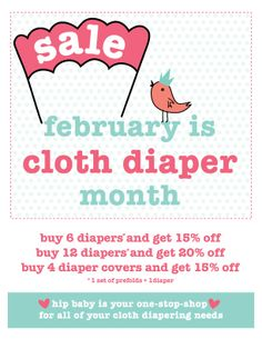 February is Cloth Diaper Month at Hip Baby! The more you buy the more you save! #clothdiapers #sale