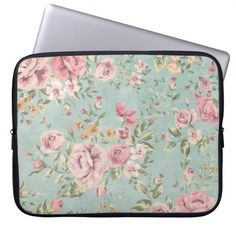 Vintage shabby chic floral teal pink girly elegant