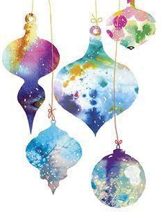Christmas Watercolor Ornaments, holiday greeting card by Masha D'yans, express… – Christmas DIY Holiday Cards Painted Christmas Cards, Watercolor Christmas Cards, Diy Christmas Cards, Holiday Greeting Cards, Noel Christmas, Watercolor Cards, Xmas Cards, Holiday Crafts, Christmas Decorations