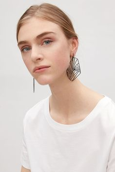 COS image 3 of Abstract cut-out earrings in Navy