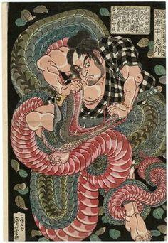 Utagawa Kuniyoshi: Saginoike Heikurô, from the series One Hundred Eight Heroes of the Japanese Shuihuzhuan (Honchô Suikoden gôyû happyakunin no hitori) - Museum of Fine Arts
