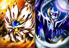 This wallpaper has tags of Lunala, Solgaleo, Pokemon Sun and Moon, Video Game, Images Wallpaper, Widescreen Wallpaper, Wallpaper Backgrounds, Gaming Wallpapers, Solgaleo Pokemon, Pokemon Fan Art, Pokemon Poster, Background Images, Moon