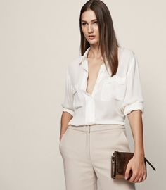 REISS - LILIA SILK POCKET-DETAIL SHIRT