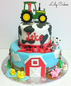 Farm animal themed first birthday cake!