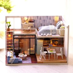 Blue Time Miniature Modern House Model Dollhouse Furniture Kits DIY Wooden Dolls House With LED Lights Birthday Christmas Gift - Home & Garden/Home Decor Dollhouse Furniture Kits, Miniature Furniture, Diy Dollhouse, Modern Dollhouse, Miniature Dollhouse, Sims 4 House Design, Tiny House Design, Jugendstil Design, Appartement Design