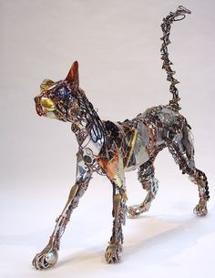 Found objects cat sculpture by Barbara Franc