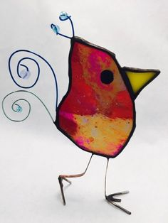 Iridescent Red Stained Glass Scrappier Bird