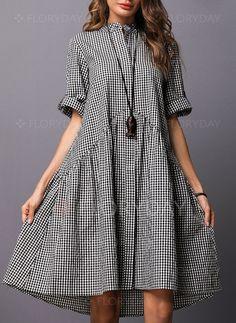 Half Sleeve Above Knee A-line Dress - Herren- und Damenmode - Kleidung Linen Dresses, Cotton Dresses, Casual Dresses, Summer Dresses, Floryday Dresses, Ladies Dresses, Funky Dresses, Dresses Online, Half Sleeve Dresses