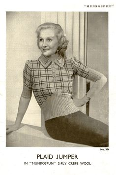 VINTAGE SWEATER PATTERN 1930s Womens Sweater knitting 128 instant download