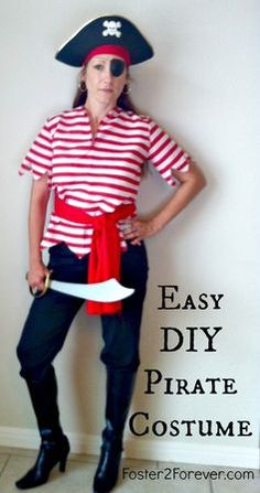 Disney Cruise Pirate Night Costumes Here is a cute DIY homemade pirate costume idea for women. Great for Disney cruise.Here is a cute DIY homemade pirate costume idea for women. Great for Disney cruise. Diy Pirate Costume For Kids, Homemade Pirate Costumes, Female Pirate Costume, Diy Costumes, Costume Ideas, Pirate Crafts, Cowgirl Costume, Teen Costumes, Woman Costumes