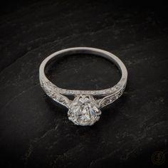Vintage Engagement Ring. 1.37ct  Old Euro Diamond- Estate Diamond Jewelry Collection. GIA certification. Solitaire Vintage Engagement Ring.