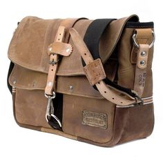 Leather Messenger Bag // Upcycled and Handmade by by peace4youBAGS