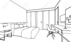 Skizze, Zeichnung Perspektive Eines Inter Raum Umreißen Lizenzfreie Fotos, Bilder Und Stock Fotografie. Image 44429375.