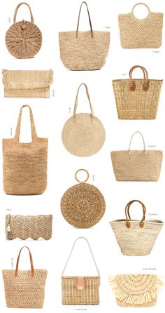 4 Beach Outfit Trends You Don't Want To Miss This Summer - Bags and Purses 👜 My Bags, Purses And Bags, Straw Art, Straw Weaving, Jute Bags, Woven Bags, Basket Bag, Crochet Handbags, Summer Bags