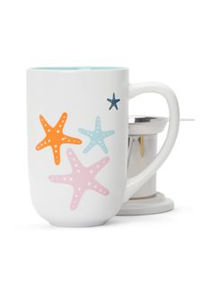 Sail away with this pretty, colourful seaside-inspired mug.