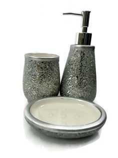 New crackle glass silver mosaic mirror sparkle accessory for Silver crackle glass bathroom accessories