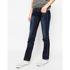 Pepe Jeans Banji Straight Leg Jeans ($65) ❤ liked on Polyvore featuring jeans, blue, faded jeans, regular fit jeans, straight leg jeans, white straight leg jeans and tall jeans