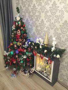 Новогодняя ёлка  Камин Камин своими руками Фальшь камин Новый год Рождество Ручная работа Новогодний декор New year Christmas Christmas decoration Handmade  Christmas tree Chimney  Handmade chimney False chimney