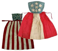 Original Civil War era Union and Confederate patriotic aprons, which in spite of our differences, each used stars and stripes and RWB. Historical Costume, Historical Clothing, Historical Dress, Daughter Of The Regiment, Aprons Vintage, Victorian Aprons, Patriotic Dresses, Civil War Fashion, Civil War Dress