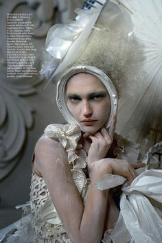Sasha Pivovarova photographed for the VOGUE UK  March 2010 issue by Tim Walker.