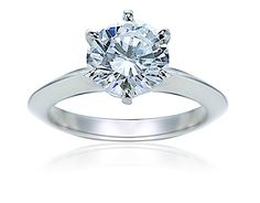 Wellington 1.5 Carat Round Knife Edge Cubic Zirconia Solitaire Engagement Ring in 14k white gold by Ziamond. #ziamond #cubiczirconia #knifeedge #solitaire #engagement #ring