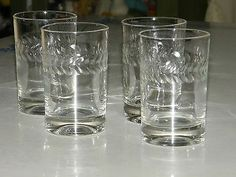 Beautiful Set of 4 Vintage Deep Cut Etched Laurel Band Juice Crystal Glasses B | eBay
