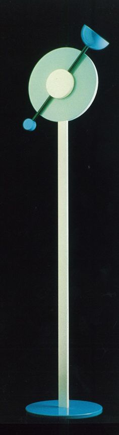 """Memphis Design floor lamp, """"Charleston"""" . . .1984, Designer Martine Bedin   aluminum/halogen bulb in the blue cup.  Direction of light can be easily altered by turning the arm."""