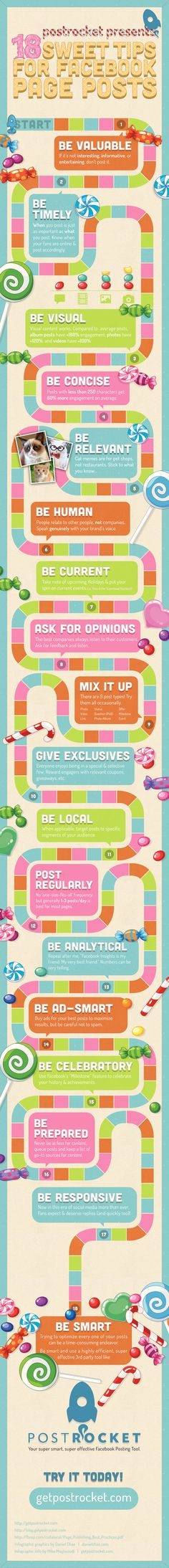 18 sweet tips for FaceBook page posts #infographic