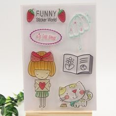 2.47$  Buy now - http://ali5c9.shopchina.info/go.php?t=32670830184 - 1 sheet DIY Funny Cats and Girls Design Transparent Clear Rubber Stamp Seal Paper Craft Scrapbooking Decoration  #magazineonline
