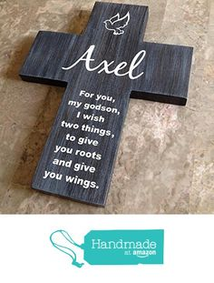 Items similar to Cross for Godson, Personalized cross on Pine Wood w/ Dove (Roots & Wings) Baptism Gift, Christening gift, Gifts from godparents godmother on Etsy
