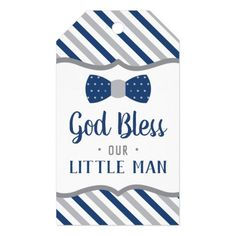 Shop Little Man Thank You Tag, Navy Blue, Gray, Baptism Gift Tags created by DeReimerDeSign. Baby Dedication, Baby Shower Thank You, Custom Ribbon, Baptism Gifts, Old Newspaper, Personalized Gift Tags, Thank You Tags, Baby First Birthday, Little Man