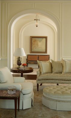 """Neutral Living Room. Wall Paint Color is """"Fresh Air 211 by Benjamin Moore"""