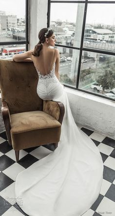 Romanzo by Julie Vino 2019 Wedding Dresses — The Love Story Bridal Collection Wedding Dress Low Back, Stunning Wedding Dresses, Fit And Flare Wedding Dress, Backless Wedding, Long Sleeve Wedding, Elegant Wedding, Bridal Collection, Dress Collection, Wedding Attire