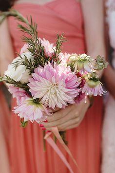 A dahlia and rose bouquet | Brides.com