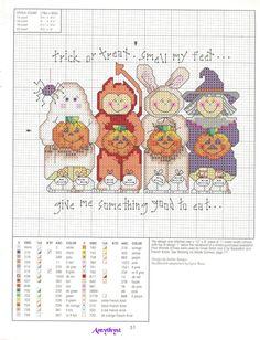 Halloween trick-or-treaters cross stitch Fall Cross Stitch, Cross Stitch Needles, Cross Stitch Baby, Cross Stitch Charts, Counted Cross Stitch Patterns, Cross Stitch Designs, Cross Stitch Embroidery, Embroidery Patterns, Halloween Embroidery