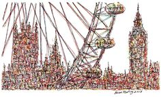London Eye - Drawing,  26x15  ©2017 by Brian Keating -                                                                                                Impressionism, Modernism, Paper, Architecture, Cities, Places, london, big ben, london eye drawings, london city drawings, uk cities, london art