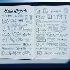 I gathered some Date headers from Facebook, IG and Pinterest all in one spread. These were found all over! Enjoy! #bulletjournaljunkie…