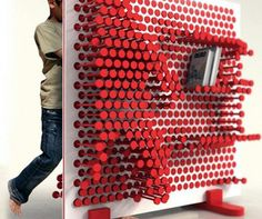 The Pin Pres is a storage system that lets a child change the positions of sliding pins to create custom shelving arrangements. this would be so much fun as a toy! Art Furniture, Furniture Design, Library Furniture, Furniture Storage, Plywood Furniture, Creative Bookshelves, Custom Shelving, Shelving Decor, My Design